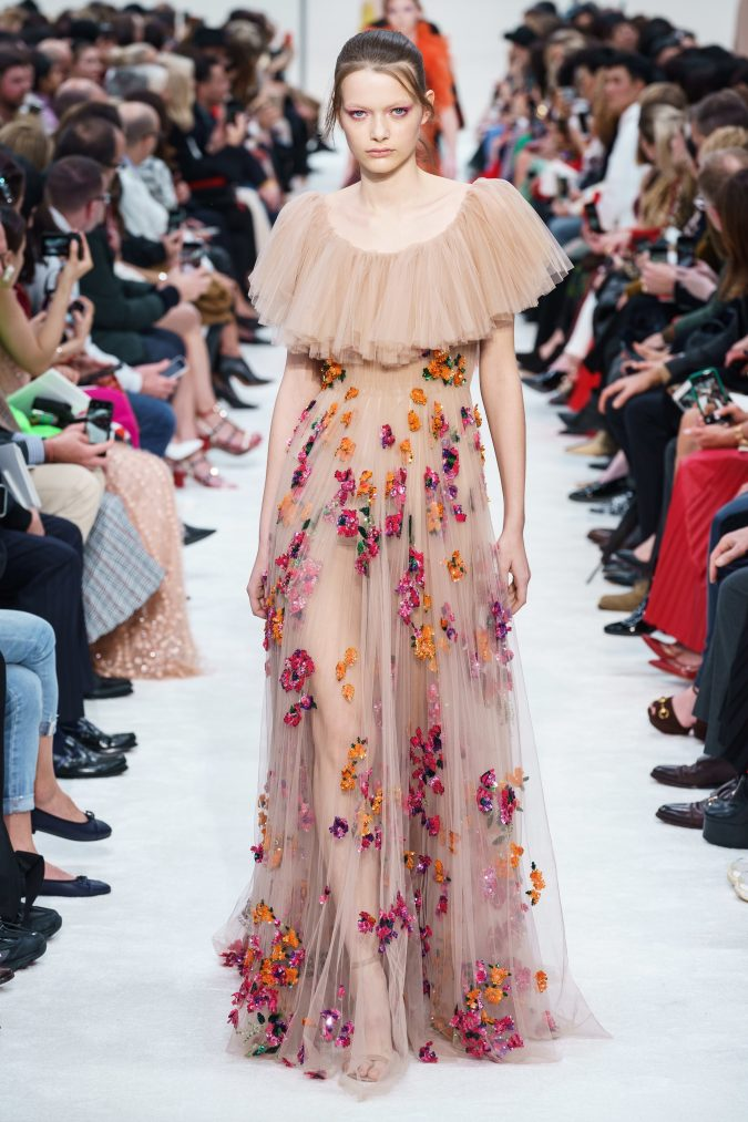 fall-winter-fashion-2020-see-through-dress-ruffles-Valentino-675x1013 120+ Lovely Floral Outfit Ideas and Trends for All Seasons 2020