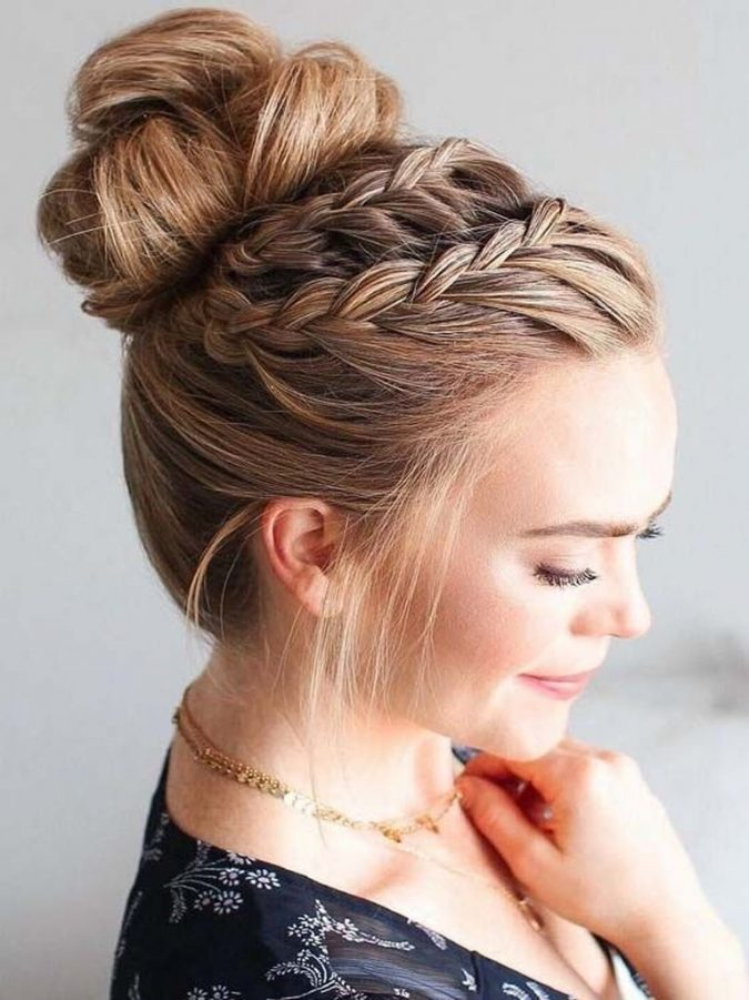 High-Bun-Hairstyle-With-Lace-Braids-675x901 20 Mind-blowing Fall / Winter Hairstyles for Women in 2020