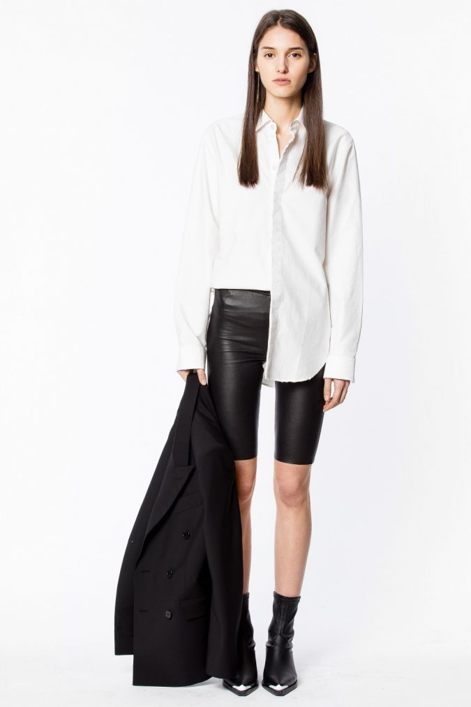 fall-outfit-bermuda-shorts-shirt-blazer-boots-675x1013 45+ Elegant Work Outfit Ideas for Fall and Winter 2020