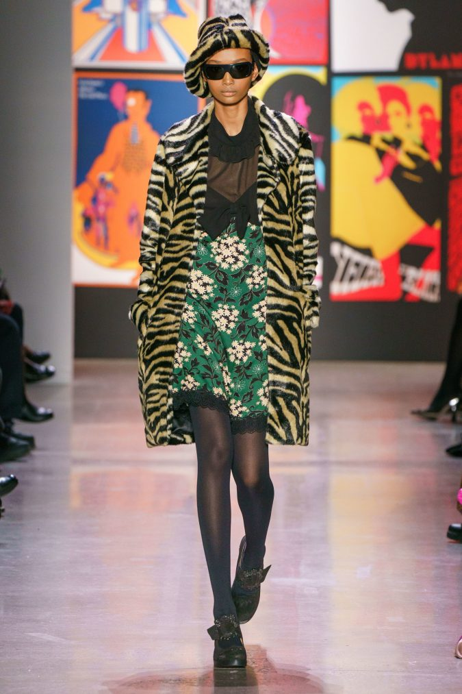 fall-winter-fashion-2020-animal-printed-coat-floral-dress-Anna-Sui-675x1013 120+ Lovely Floral Outfit Ideas and Trends for All Seasons 2020