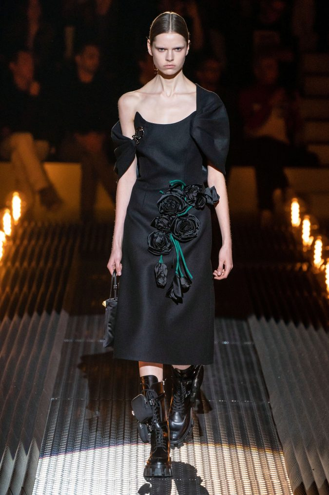 fall-winter-fashion-2020-dress-asymmetrical-sleeves-Prada-675x1013 120+ Lovely Floral Outfit Ideas and Trends for All Seasons 2020