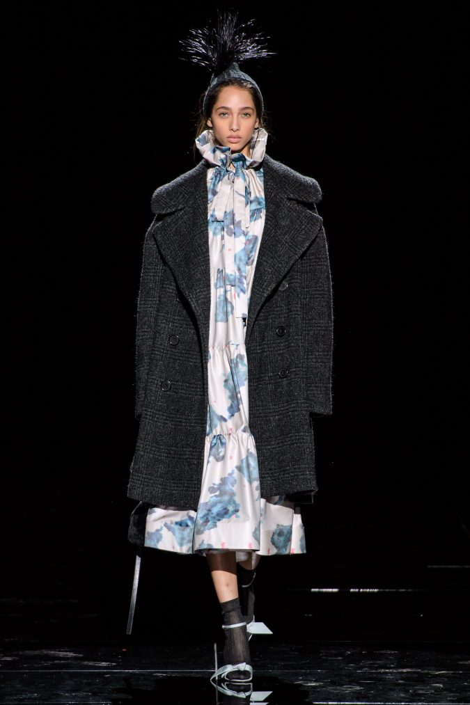 fall-winter-fashion-2020-floral-dress-checked-tweed-coat-Marc-Jacobs-675x1013 120+ Lovely Floral Outfit Ideas and Trends for All Seasons 2020