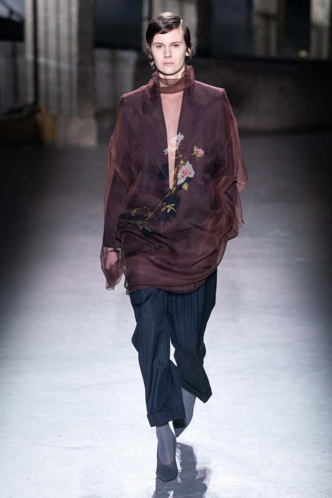 fall-winter-fashion-2020-floral-see-through-top-striped-pants-Dries-Van-Noten-675x1013 120+ Lovely Floral Outfit Ideas and Trends for All Seasons 2020