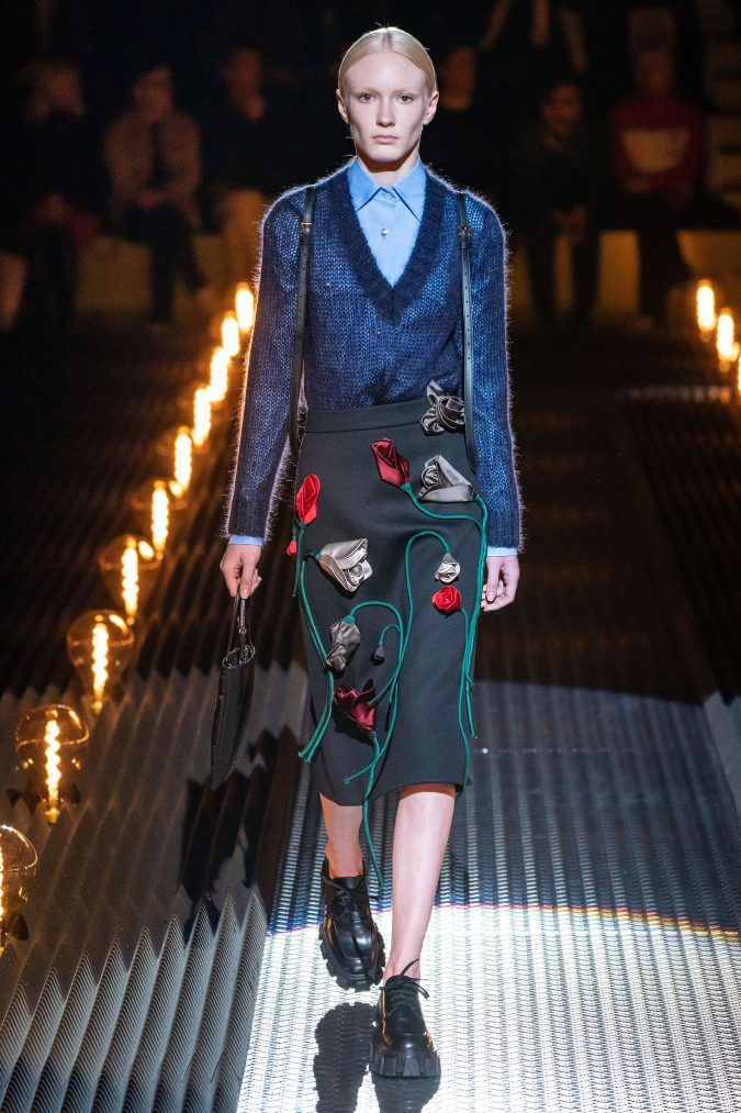 fall-winter-fashion-2020-floral-skirt-Prada-675x1013 120+ Lovely Floral Outfit Ideas and Trends for All Seasons 2020
