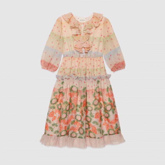 fall-winter-fashion-2020-kids-boho-floral-ruffled-dress-Gucci-675x675 15 Cutest Kids Fashion Trends for Winter 2020