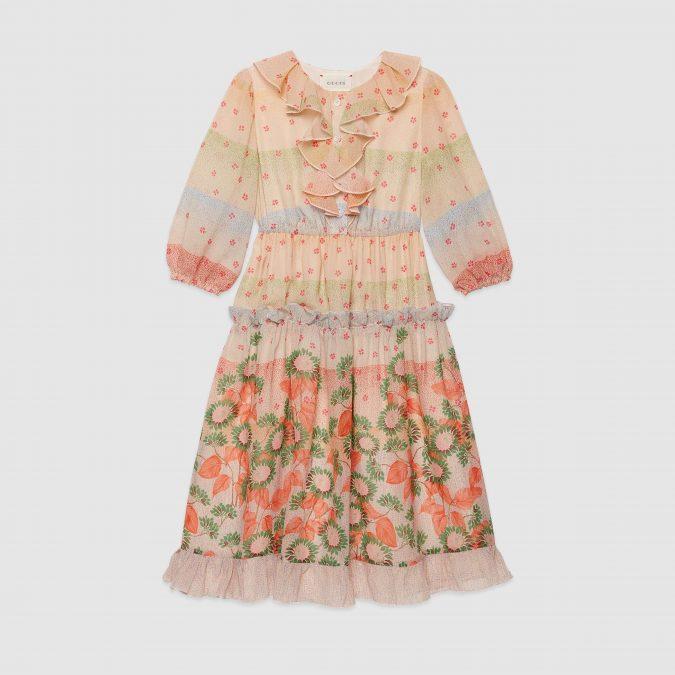 fall-winter-fashion-2020-kids-boho-floral-ruffled-dress-Gucci-675x675 15 Cutest Kids Fashion Trends for Winter 2020