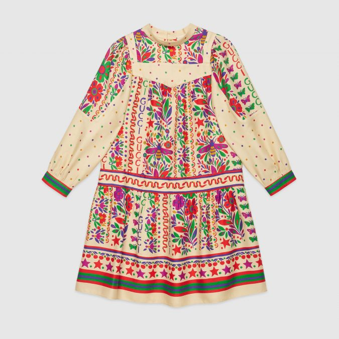 fall-winter-fashion-2020-kids-printed-viscose-dress-Gucci-675x675 15 Cutest Kids Fashion Trends for Winter 2020