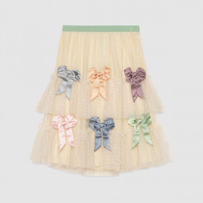 fall-winter-fashion-2020-kids-tulle-plumetis-skirt-with-bows-Gucci-675x675 15 Cutest Kids Fashion Trends for Winter 2020