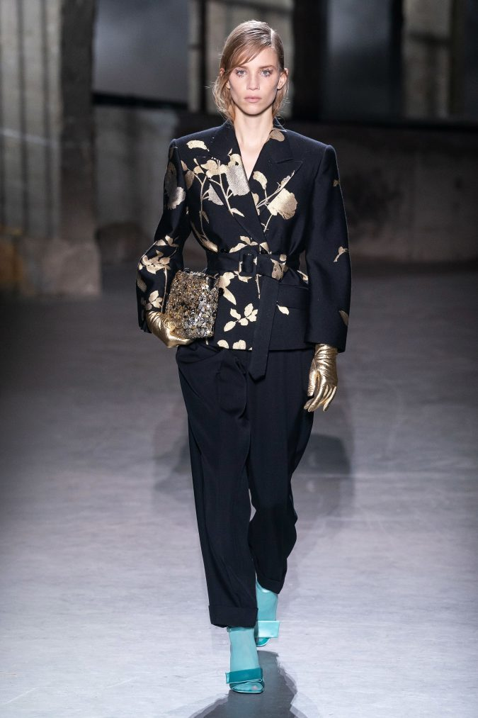 fall-winter-fashion-2020-pantsuit-Dries-Van-Noten-675x1013 120+ Lovely Floral Outfit Ideas and Trends for All Seasons 2020
