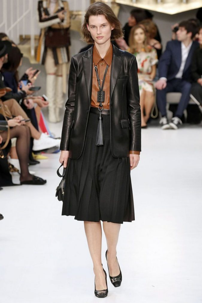 fall-winter-fashion-2020-pleated-skirt-leather-shirt-jacket-675x1012 45+ Elegant Work Outfit Ideas for Fall and Winter 2020