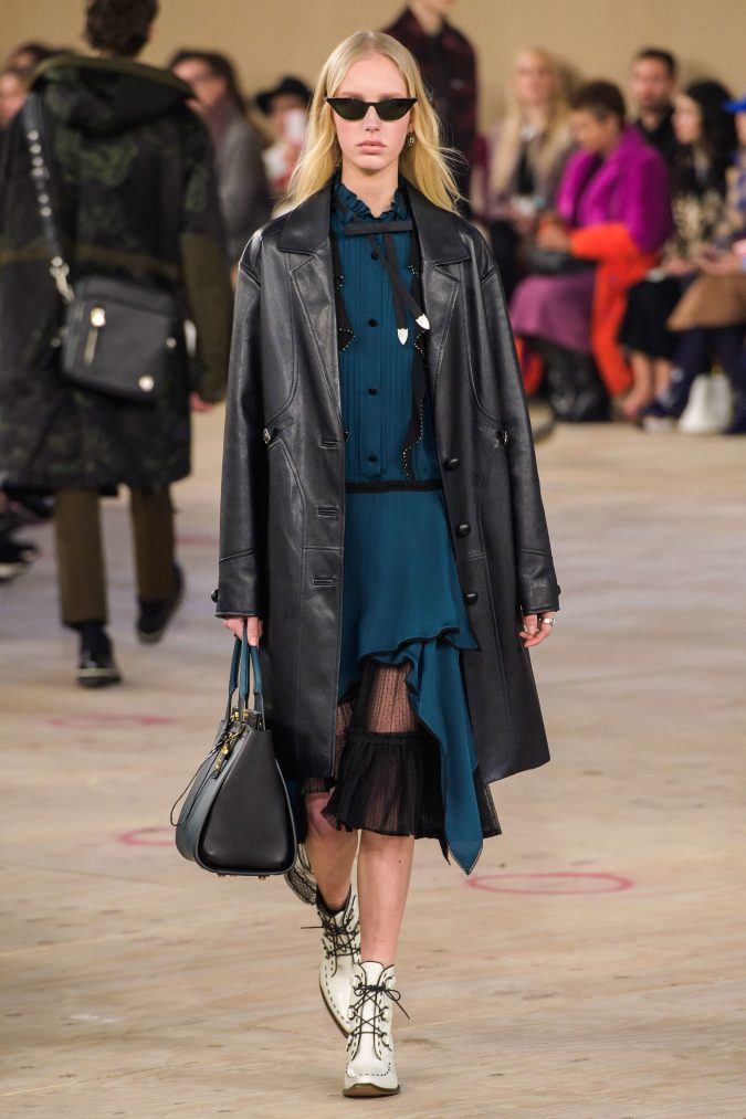fall-winter-fashion-2020-ruffled-dress-leather-coat-Coach-675x1013 45+ Elegant Work Outfit Ideas for Fall and Winter 2020