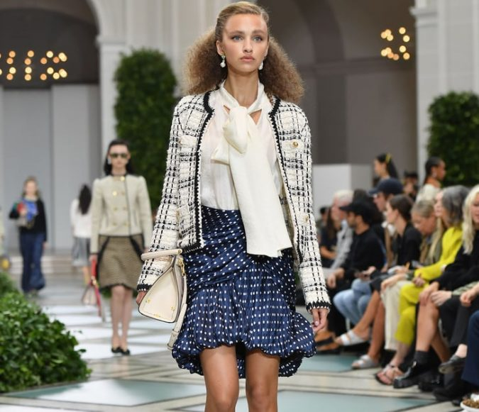 fall-winter-fashion-2020-skirt-suit-polka-dotted-skirt-plaid-jacket-bow-shirt-675x581 Top 10 Winter Predictions and Trends for 2019/2020