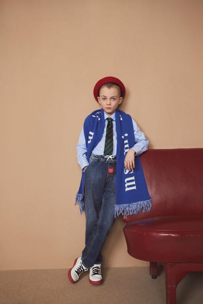 fall-winter-kids-fashion-2020-blue-scarf-denim-pants-shirt-MSGM-675x1012 15 Cutest Kids Fashion Trends for Winter 2020