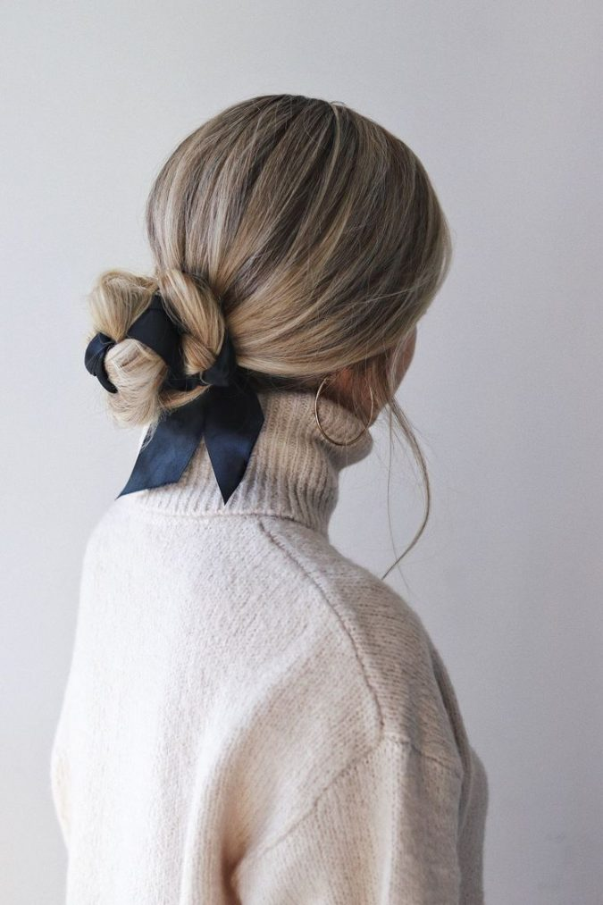 hairstyle-fall-2020-bun-with-ribbon-675x1013 20 Mind-blowing Fall / Winter Hairstyles for Women in 2021