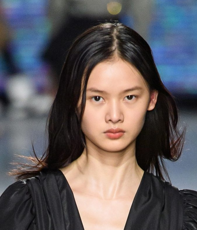 middle-part-hairstyle-2020-MSGM-675x789 20 Mind-blowing Fall / Winter Hairstyles for Women in 2021