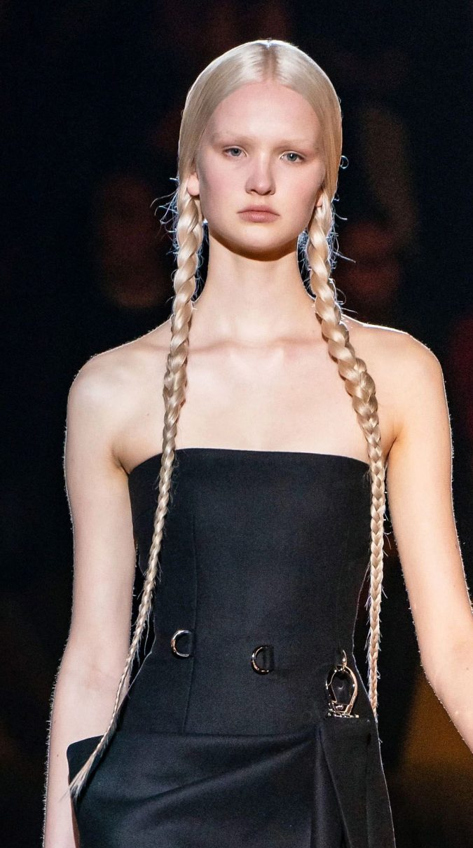 pigtail-braids-hairstyle-fall-2020-prada-675x1209 20 Mind-blowing Fall / Winter Hairstyles for Women in 2020