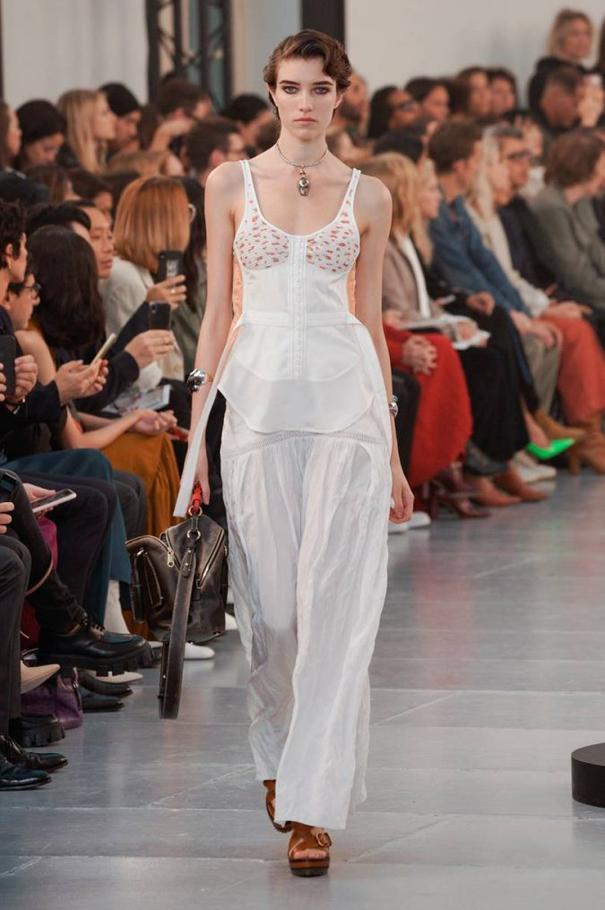 spring-summer-2020-all-white-outfit-wide-leg-pants-floral-top-chloe-675x1015 120+ Lovely Floral Outfit Ideas and Trends for All Seasons 2020