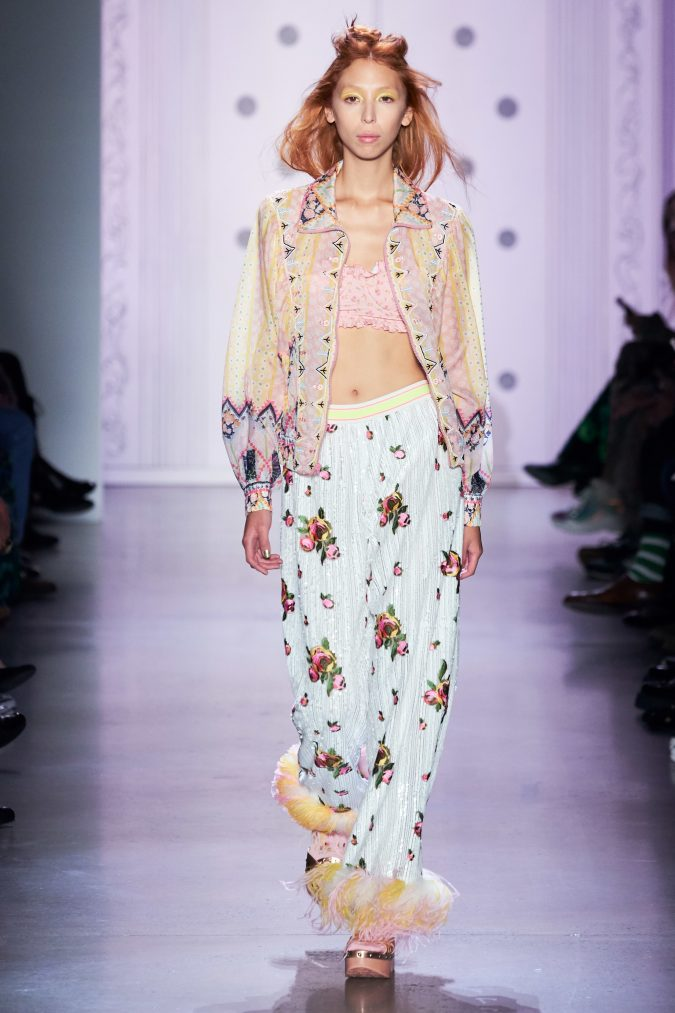spring-summer-fashion-2020-floral-pants-Anna-Sui-675x1013 120+ Lovely Floral Outfit Ideas and Trends for All Seasons 2020