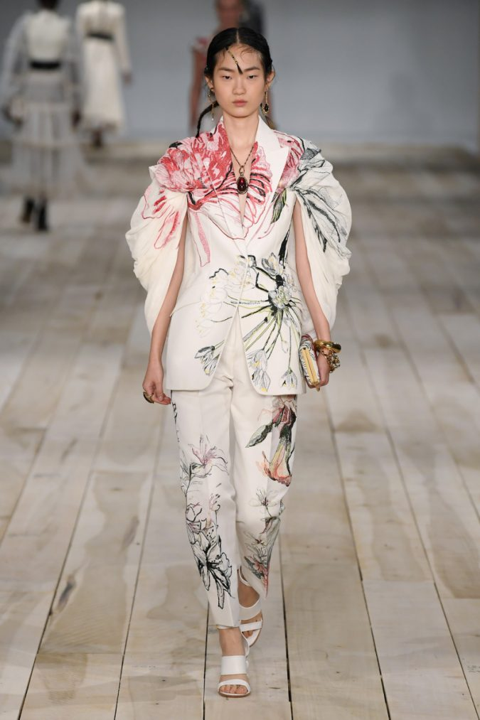 spring-summer-fashion-2020-floral-pantsuit-alexander-mcqueen-675x1013 120+ Lovely Floral Outfit Ideas and Trends for All Seasons 2020