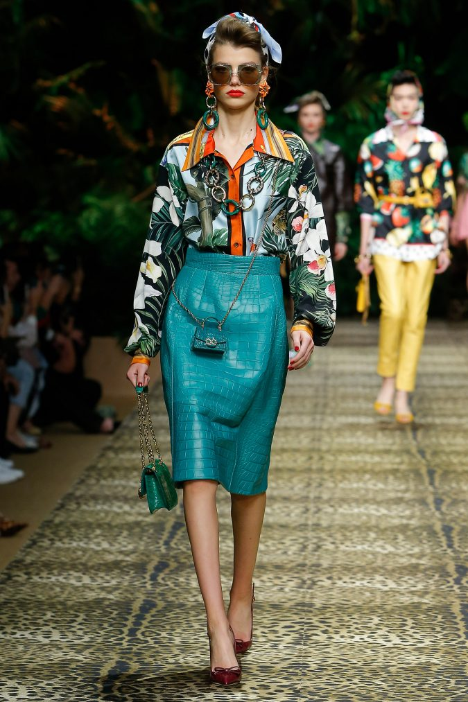 spring-summer-fashion-2020-floral-shirt-pencil-skirt-Dolce-and-Gabbana-675x1013 120+ Lovely Floral Outfit Ideas and Trends for All Seasons 2020