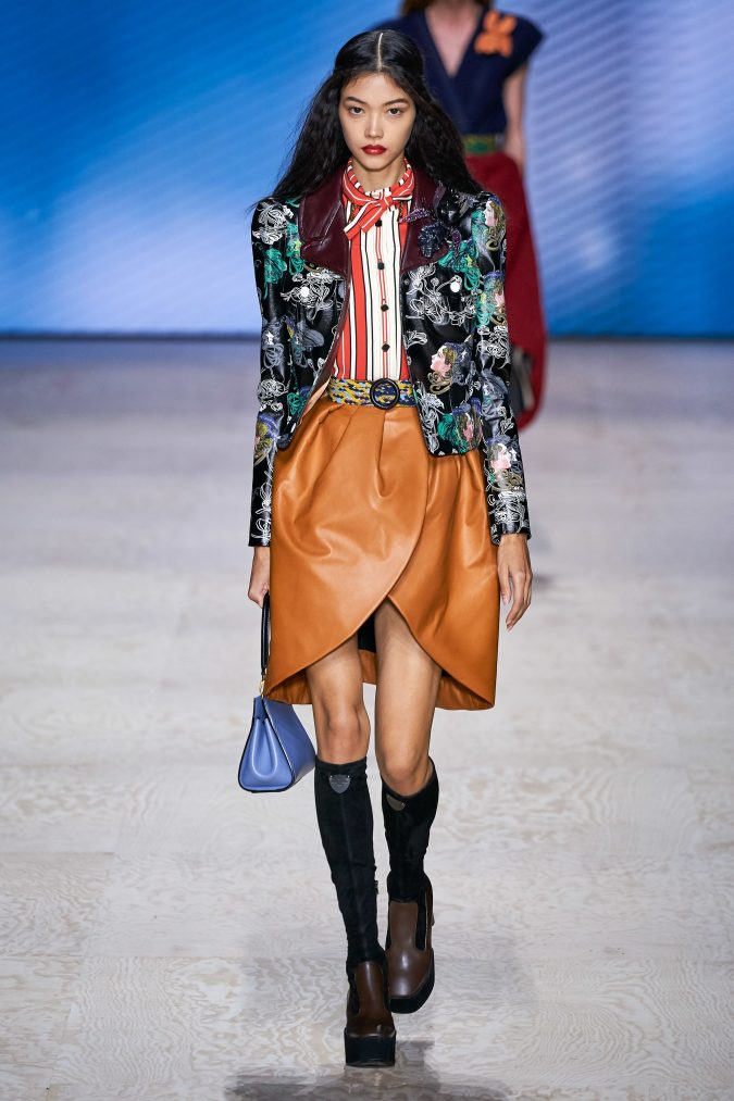 spring-summer-fashion-2020-leather-skirt-floral-blazer-Louis-Vuitton-675x1013 Top 10 Fashionable Winter Fashion Outfit Ideas for Teens in 2020