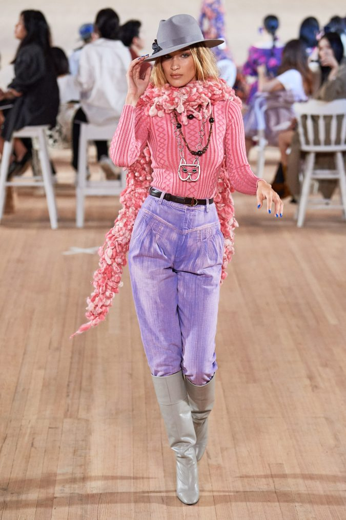 spring-summer-fashion-2020-pants-sweater-floral-scarf-Marc-Jacobs-675x1013 120+ Lovely Floral Outfit Ideas and Trends for All Seasons 2020