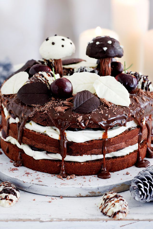 Christmas-cake-black-forest-gateau-from-Good-Housekeeping 16 Mouthwatering Christmas Cake Decoration Ideas 2021