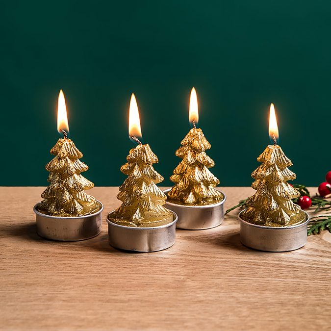 Christmas-pine-gold-tealight-candles-675x675 50+ Hottest Christmas Decoration Ideas for 2021