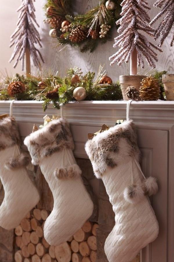 christmas-decoration-faux-fur-stockings-3 50+ Hottest Christmas Decoration Ideas for 2021