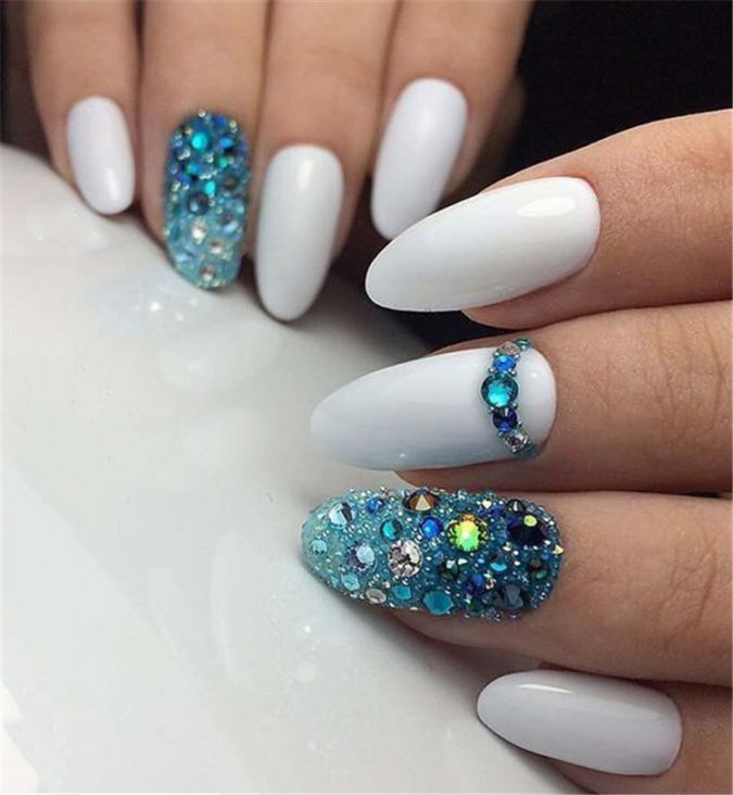 embellished-Almond-Long-White-Nails-675x732 Top 10 Most Luxurious Nail Designs for 2020