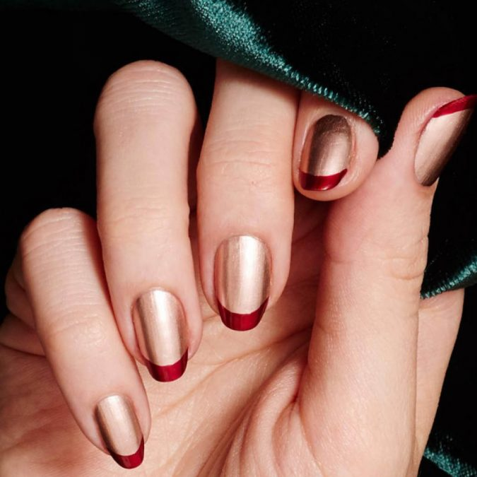 metallic-gold-and-red-nails-french-manicure-675x675 Top 10 Most Luxurious Nail Designs for 2021
