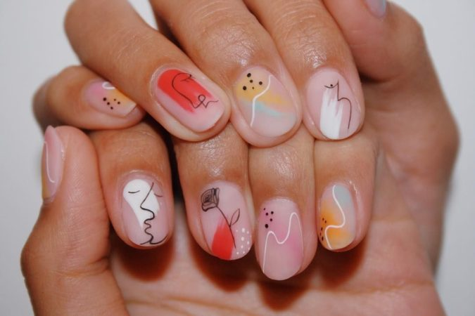 abstract-nail-art-675x450 35 Most Trendy Valentine's Day Nail Art Designs