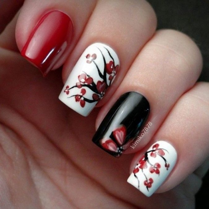 floral-nail-art-675x675 35 Most Trendy Valentine's Day Nail Art Designs