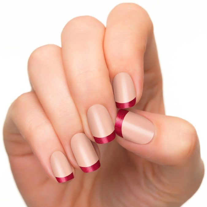 french-manicure-red-tips-675x675 35 Most Trendy Valentine's Day Nail Art Designs