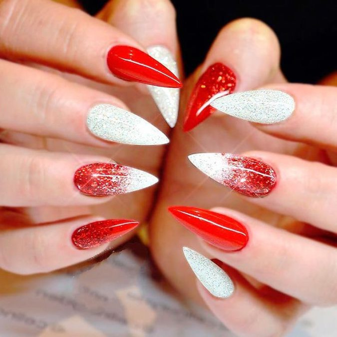 red-and-white-nail-art-675x675 35 Most Trendy Valentine's Day Nail Art Designs