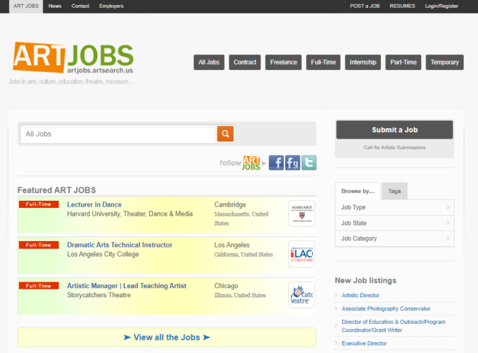 Art-Jobs-screenshot-675x499 Best 50 Online Job Search Websites