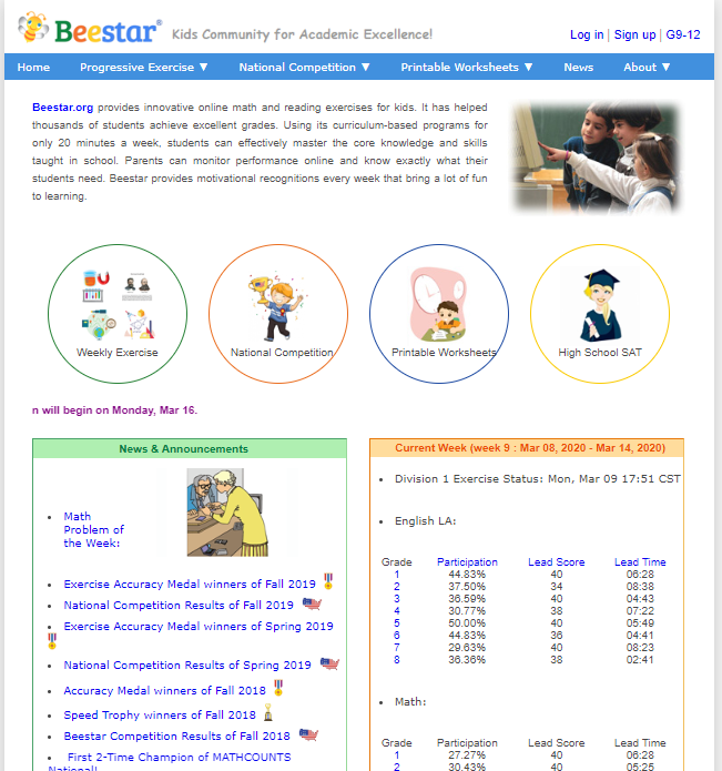 Beestar-screenshot Top 50 Free Learning Websites for Kids in 2020