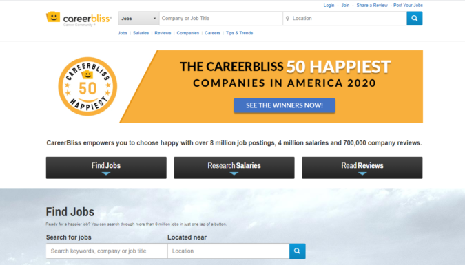 Career-Bliss-screenshot-675x385 Best 50 Online Job Search Websites