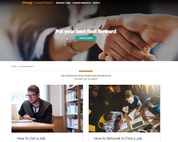 Chegg-Career-Match-screenshot-675x538 Best 50 Online Job Search Websites