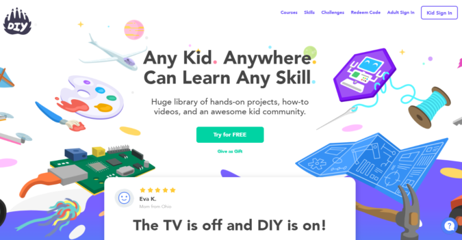 DIY-screenshot-675x351 Top 50 Free Learning Websites for Kids in 2020