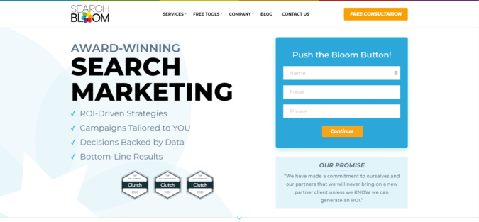 Searchbloom-Search-Engine-Marketing-Homepage-Abovefold-675x313 Top 75 SEO Companies & Services in the World