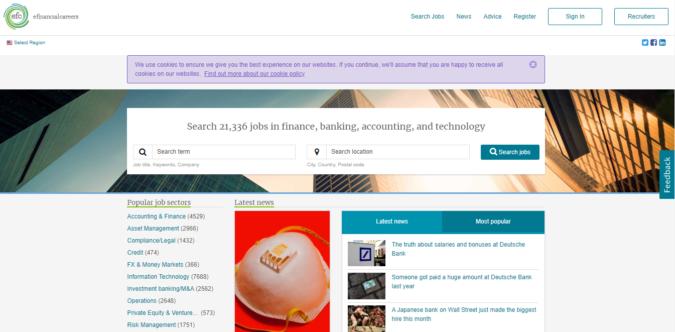 efinancial-careers-website-screenshot-675x332 Best 50 Online Job Search Websites