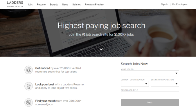 ladders-screenshot-675x373 Best 50 Online Job Search Websites