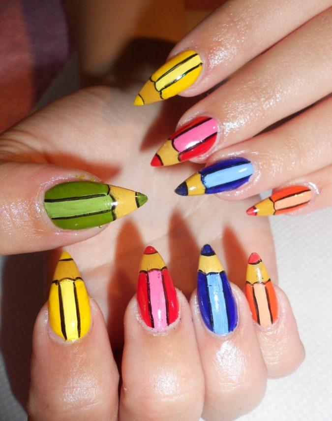 Coloured-Pencil-Nails.-675x855 20 Weirdest Nail Art Ideas That Should Not Exist