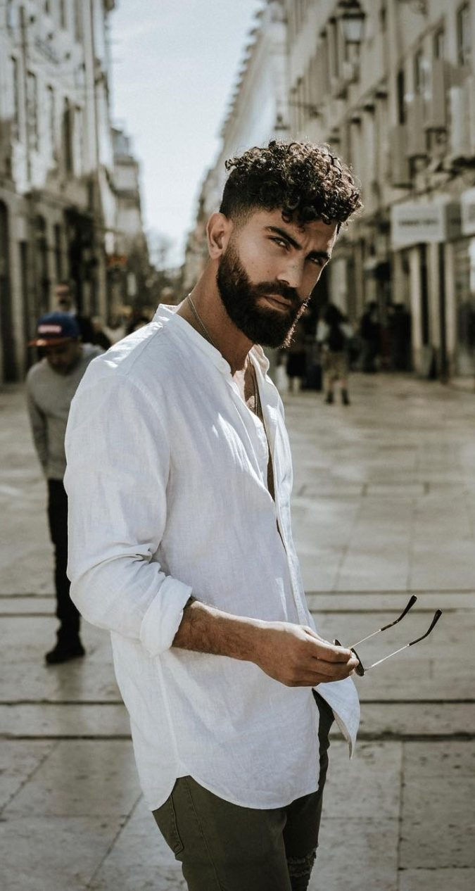 Curly-hair-and-beard.-675x1266 20 Most Trendy Men's Beard Styles for 2020