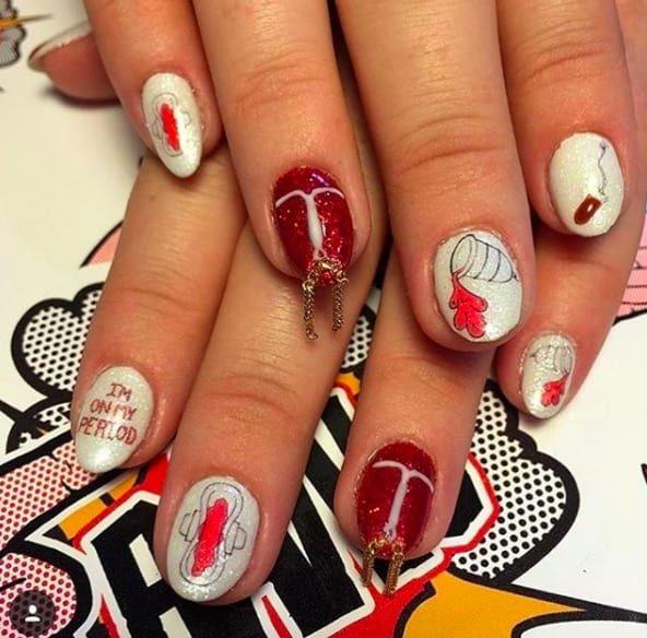 Period-Nails. 20 Weirdest Nail Art Ideas That Should Not Exist