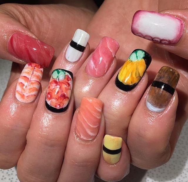 Sushi-Nails 20 Weirdest Nail Art Ideas That Should Not Exist