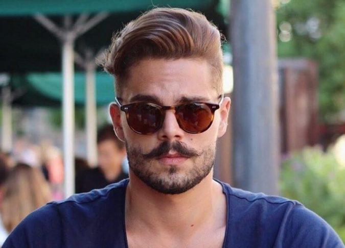The-mustache-styled-beard-style-675x486 20 Most Trendy Men's Beard Styles for 2020