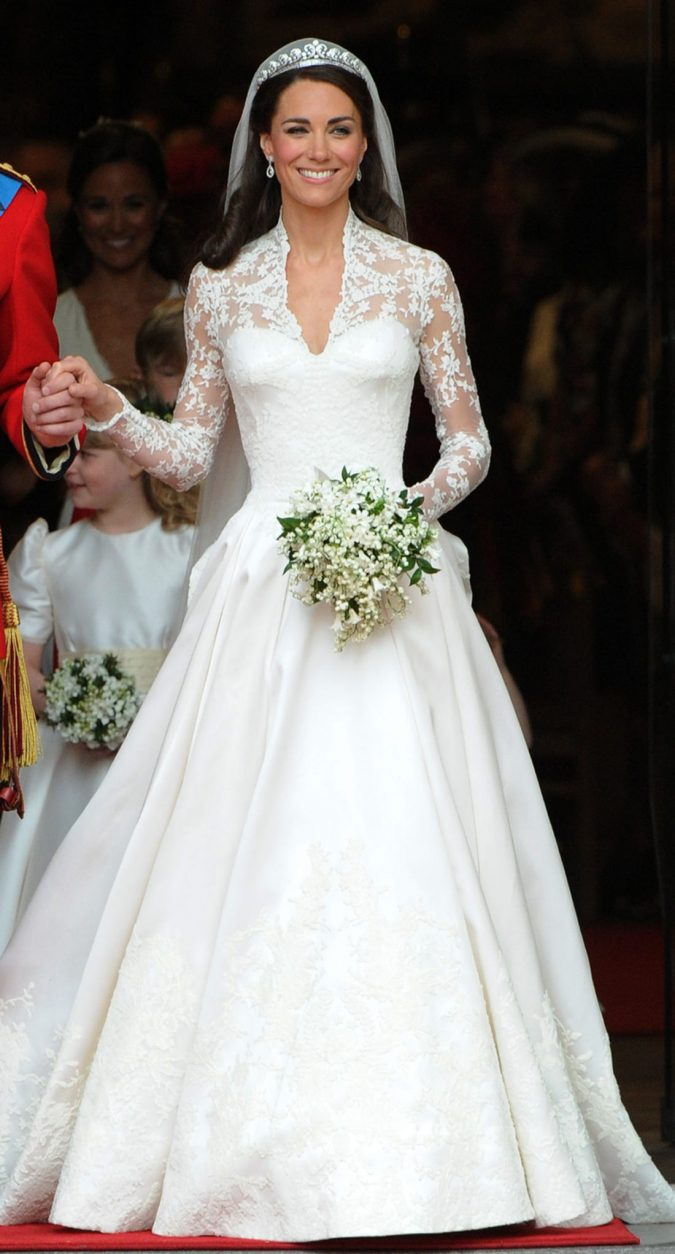 Duchess-Kates-wedding-gown.-675x1254 15 Most Expensive Celebrity Wedding Dresses