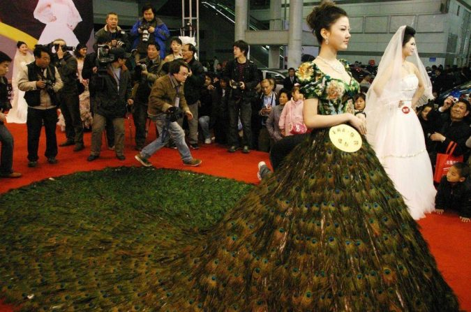 Peacock-dress.-675x447 15 Most Expensive Celebrity Wedding Dresses